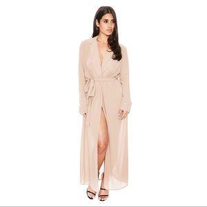 Naked Wardrobe Sheer Wrap Maxi Dress
